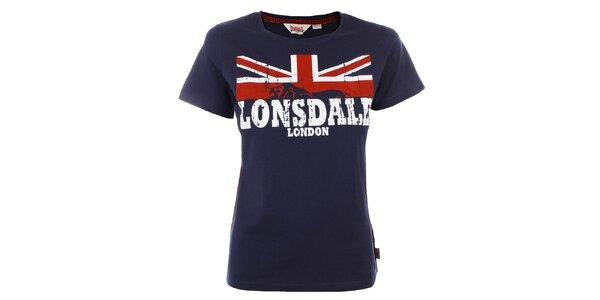 Dámske tmavomodré tričko s nápisom Lonsdale