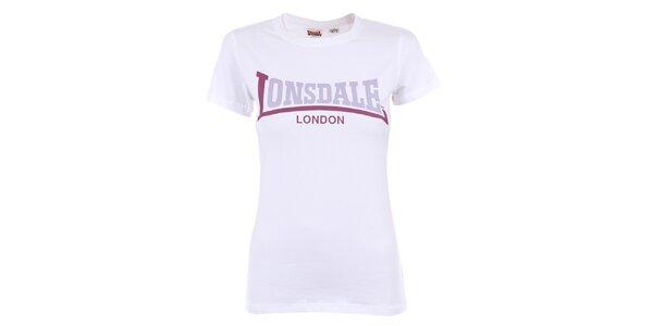 Dámske biele tričko s fialovým nápisom Lonsdale