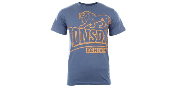 Pánske modré tričko s tmavo žltou potlačou Lonsdale