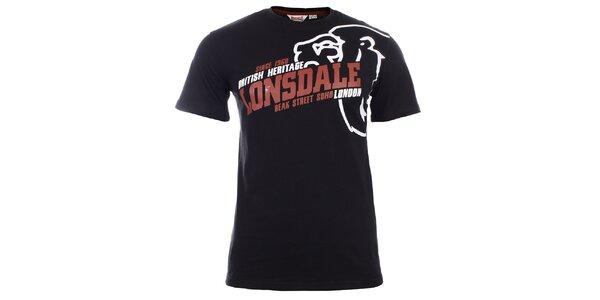 Pánske čierne tričko s červeno-bielym nápisom Lonsdale