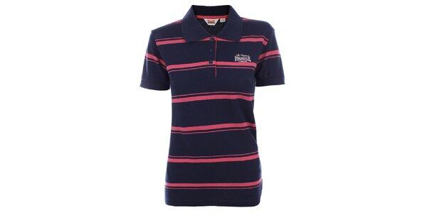 Dámske modro-ružové pruhované polo tričko Lonsdale