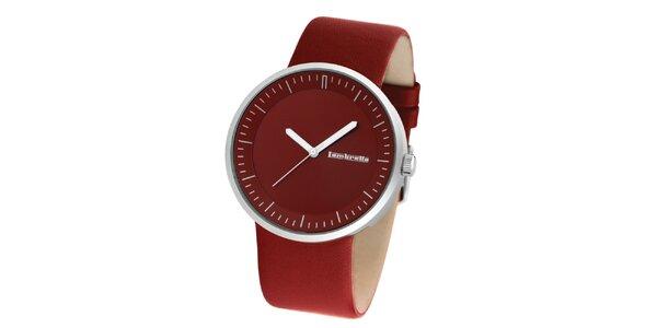 Červené hodinky s koženým remienkom Lambretta