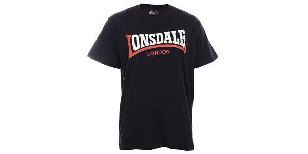 Pánske čierne tričko s krátkym rukávom a dvojfarebnou potlačou Lonsdale