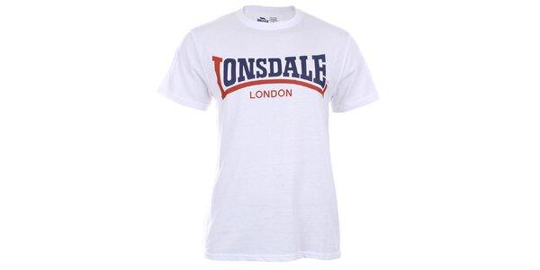 Pánske biele tričko s krátkym rukávom a dvojfarebnou potlačou Lonsdale