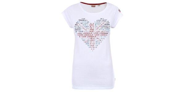 Dámske biele tričko so srdiečkom Lonsdale