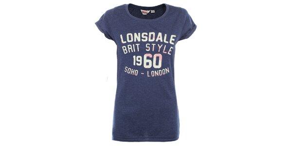 Dámske modré tričko s nápisom na hrudi Lonsdale