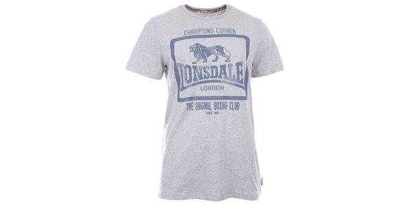 Pánske svetlo šedé slim fit tričko Lonsdale