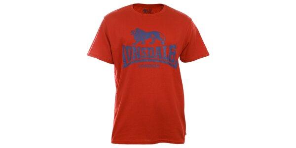 Pánske červené tričko s krátkym rukávom a modrou potlačou Lonsdale