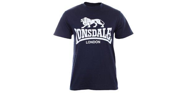Pánske tmavo modré tričko s krátkym rukávom a bielou potlačou Lonsdale