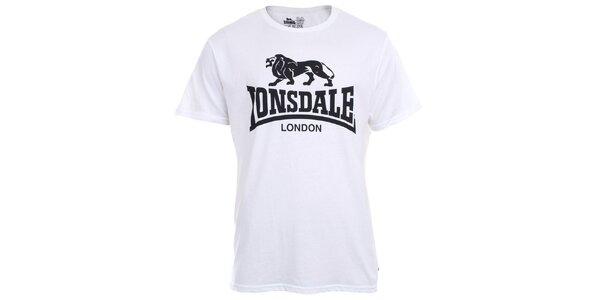 Pánske biele tričko s krátkym rukávom a čiernou potlačou Lonsdale