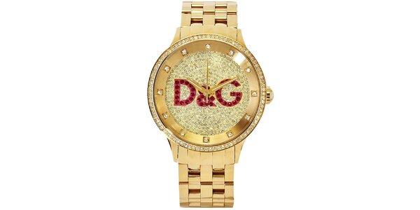 Dámske oceľové hodinky v zlatej farbe s kryštálmi Dolce & Gabbana