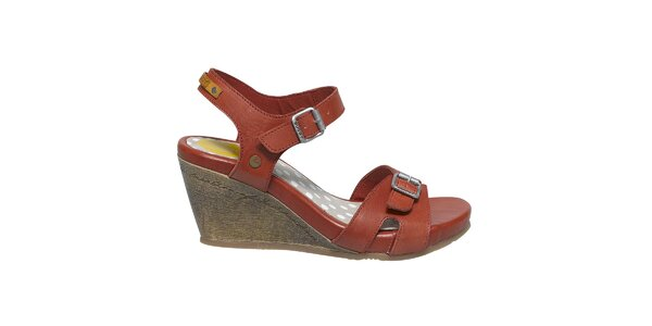 Dámske tehlové sandále na kline Buggy