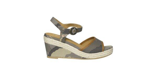 Dámske maskáčové sandálky na kline Buggy