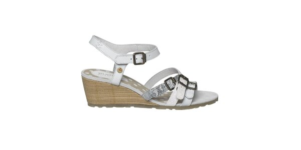 Dámske biele remienkové sandále na kline Buggy