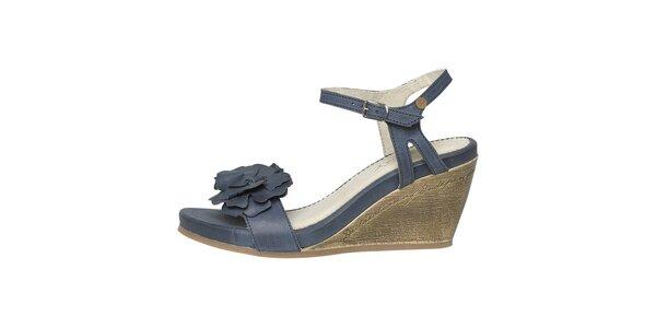 Dámske modré sandálky na kline Buggy