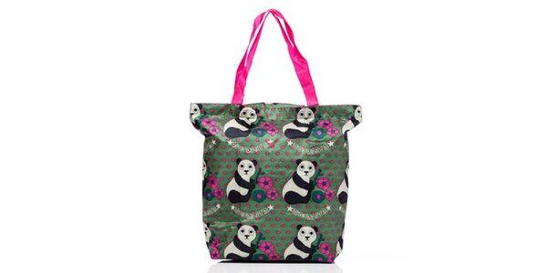 Dámska zeleno-ružová nákupná taška s medvedíkmi Rosalita McGee