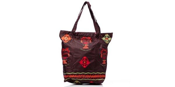 Dámska hnedá nákupná taška s africkým motívom Rosalita McGee