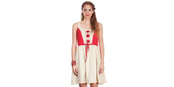 Dámske béžovo-červené šaty Missing Johnny