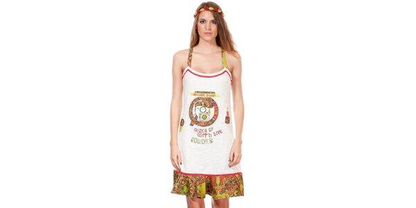 Dámske bielo-zelené hippie šaty Missing Johnny