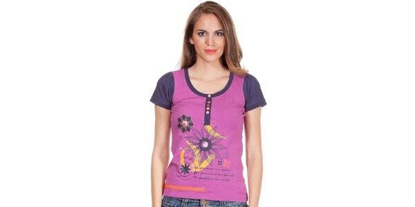 Dámske fialové tričko s potlačou a gombíkmi Missing Johnny
