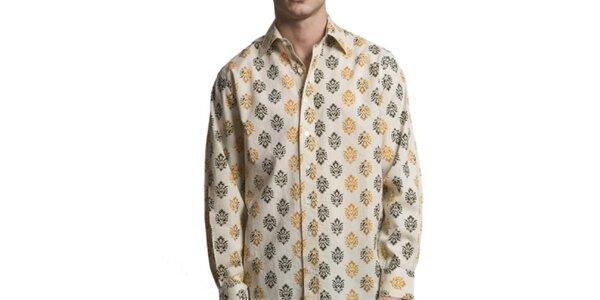 Pánska krémová košeľa so vzorom Yhoss