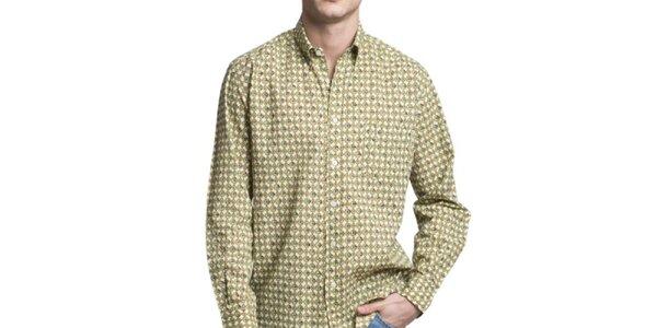 Pánska krémovo-zeleno-modrá vzorovaná košeľa Yhoss