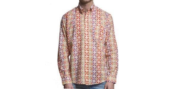 Pánska farebná vzorovaná košeľa s dlhým rukávom Yhoss