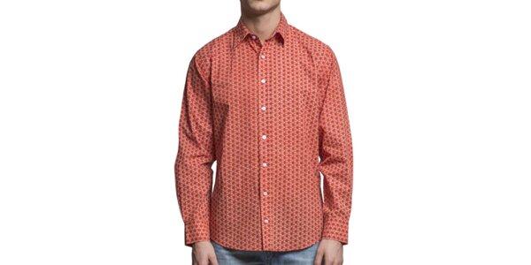 Pánska oranžová kvetovaná košeľa s dlhým rukávom Yhoss