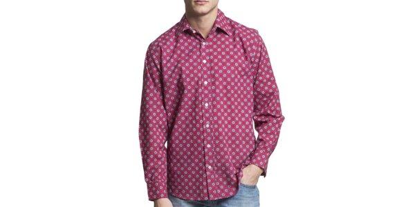 Pánska vínová vzorovaná košeľa s dlhým rukávom Yhoss