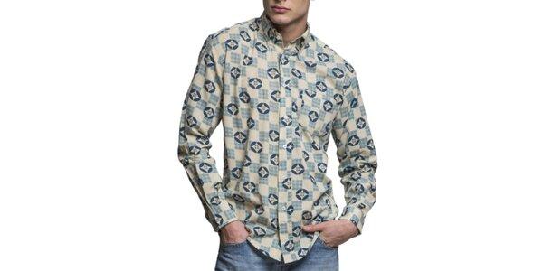 Pánska modro-biela vzorovaná košeľa s dlhým rukávom Yhoss