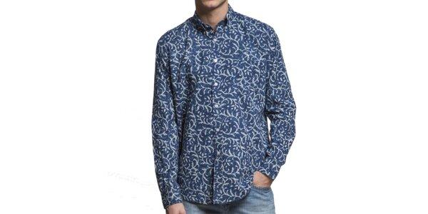 Pánska tmavo modrá vzorovaná košeľa Yhoss