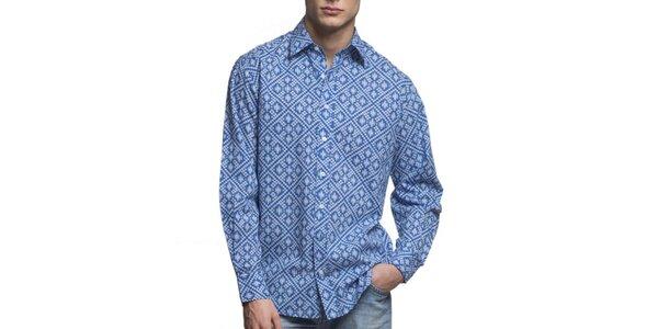 Pánska modrá vzorovaná košeľa Yhoss