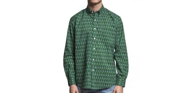 Pánska zelená vzorovaná košeľa Yhoss