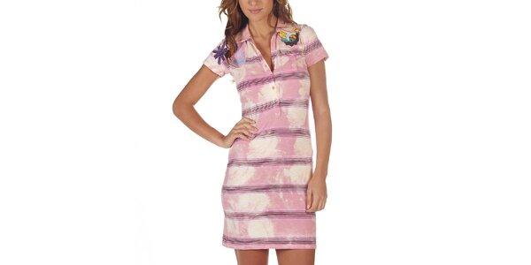 Dámske ružové pruhované šaty s vreckom Custo Barcelona