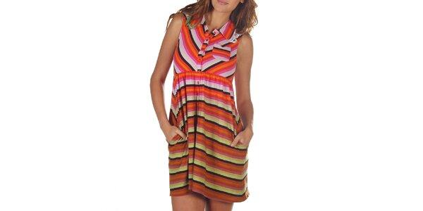 Dámske farebné pruhované šaty s vreckami Custo Barcelona