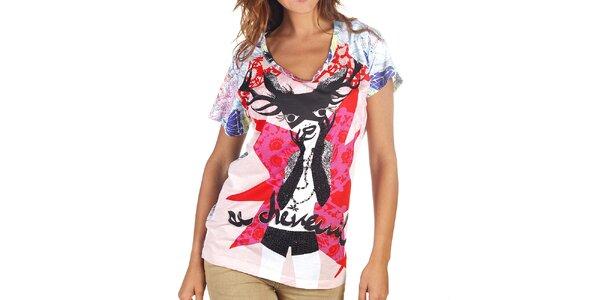 Dámske pestrofarebné tričko s jeleňom Custo Barcelona