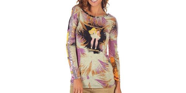 Dámske pestrofarebné tričko s dlhým rukávom Custo Barcelona