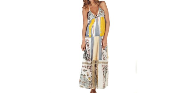 Dámske dlhé vzorované šaty so zaväzovaním za krkom Custo Barcelona