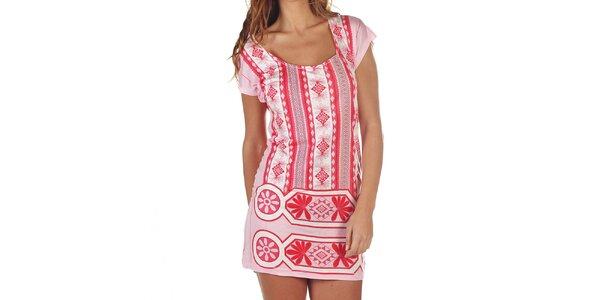Dámske ružové šaty so vzorom Custo Barcelona