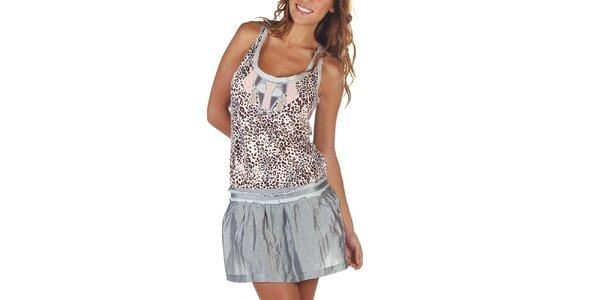 Dámske šaty s leopardím vzorom a šedou sukňou Custo Barcelona
