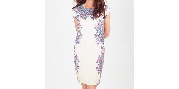 Dámske smotanové šaty s kvetinovým vzorom Chaser
