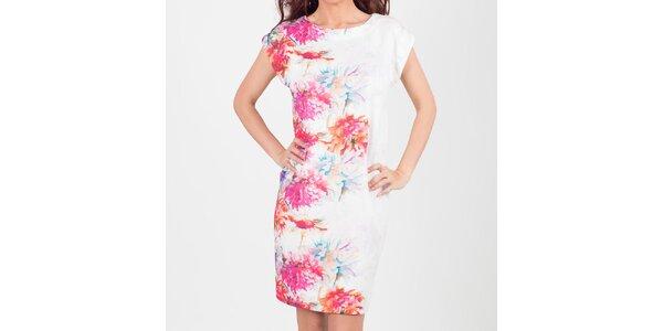 Dámske biele šaty s pastelovými kvetmi Chaser