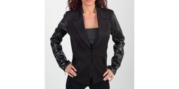 Dámske čierne sako s koženkovými rukávmi Chaser
