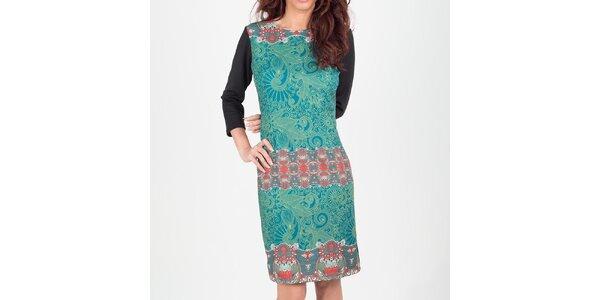 Dámske zeleno-čierne vzorované šaty s dlhým rukávom Chaser