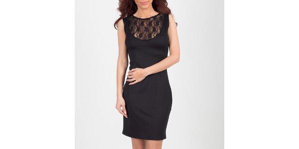 Dámske čierne šaty s čipkovým výstrihom Chaser