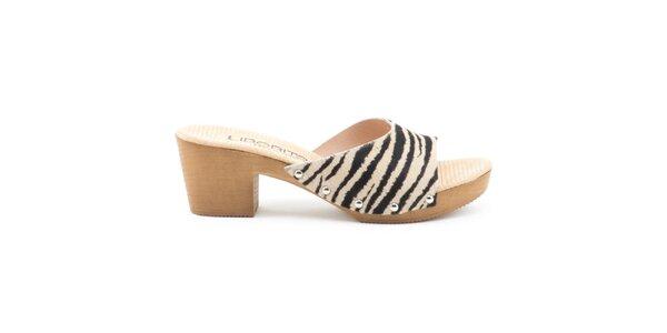 Dámske kožené sandále so zebrovaným remienkom Liberitae