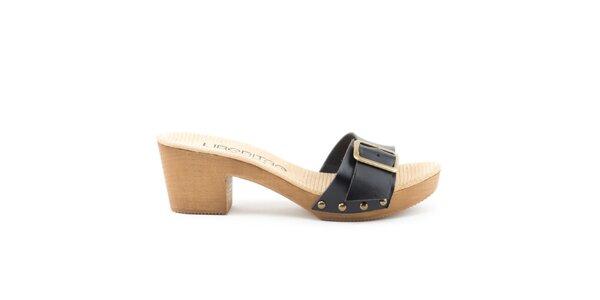 Dámske kožené sandále s čiernym remienkom a prackou Liberitae