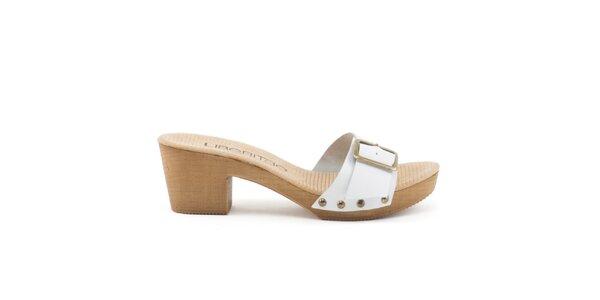 Dámske kožené sandále s bielym remienkom a prackou Liberitae