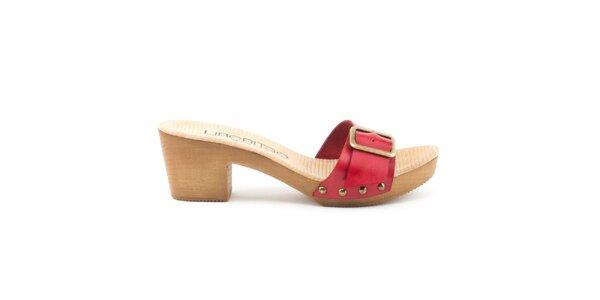 Dámske kožené sandále s červeným remienkom a prackou Liberitae