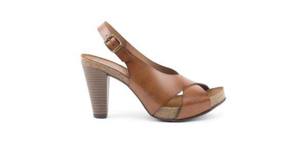Dámske kožené sandálky na opätku Liberitae